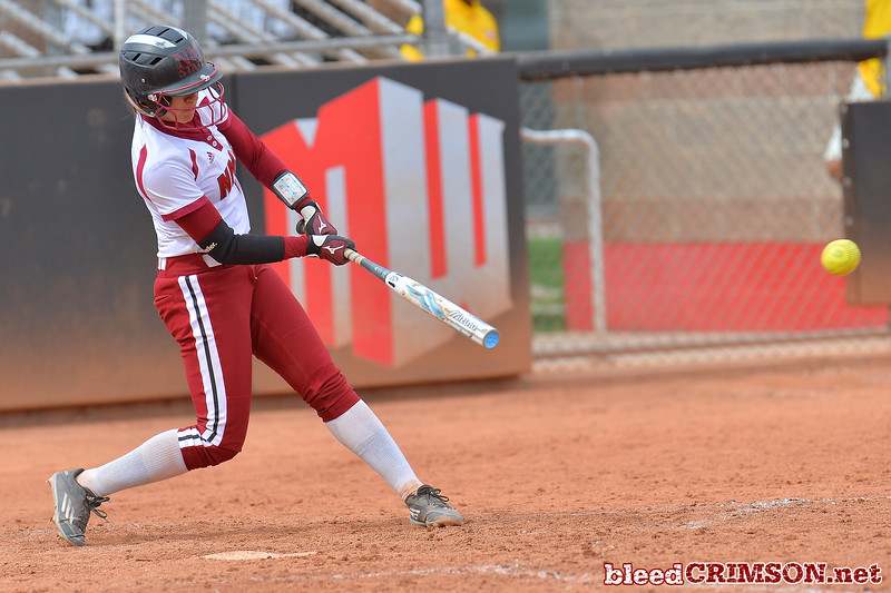 March 5, 2016: NM State catcher Alexis Maynez collects a hit in a game between New Mexico State and Saint Mary's College at the 2016 Alexis Park Resort Classic at Eller Media Stadium in Las Vegas, Nevada. The Aggies defeated the Gaels via run rule 12-4.