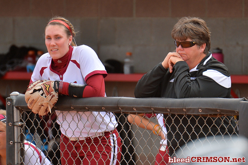 March 5, 2016: NM State head coach Kathy Rodolph and pitcher Makayla McAdams watch the action in a game between New Mexico State and Saint Mary's College at the 2016 Alexis Park Resort Classic at Eller Media Stadium in Las Vegas, Nevada. The Aggies defeated the Gaels via run rule 12-4.
