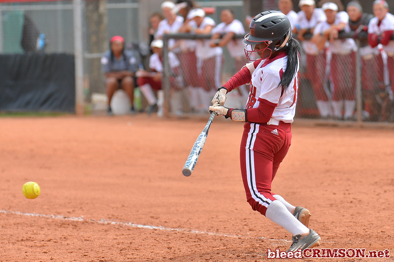 March 5, 2016: NM State second baseman Rachel Rodriguez gets a hit in a game between New Mexico State and Saint Mary's College at the 2016 Alexis Park Resort Classic at Eller Media Stadium in Las Vegas, Nevada. The Aggies defeated the Gaels via run rule 12-4.