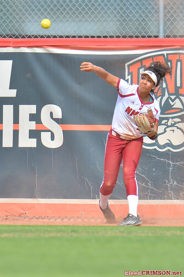 March 5, 2016: NM State center fielder Victoria Castro throws a ball into the infield in a game between New Mexico State and Saint Mary's College at the 2016 Alexis Park Resort Classic at Eller Media Stadium in Las Vegas, Nevada. The Aggies defeated the Gaels via run rule 12-4.