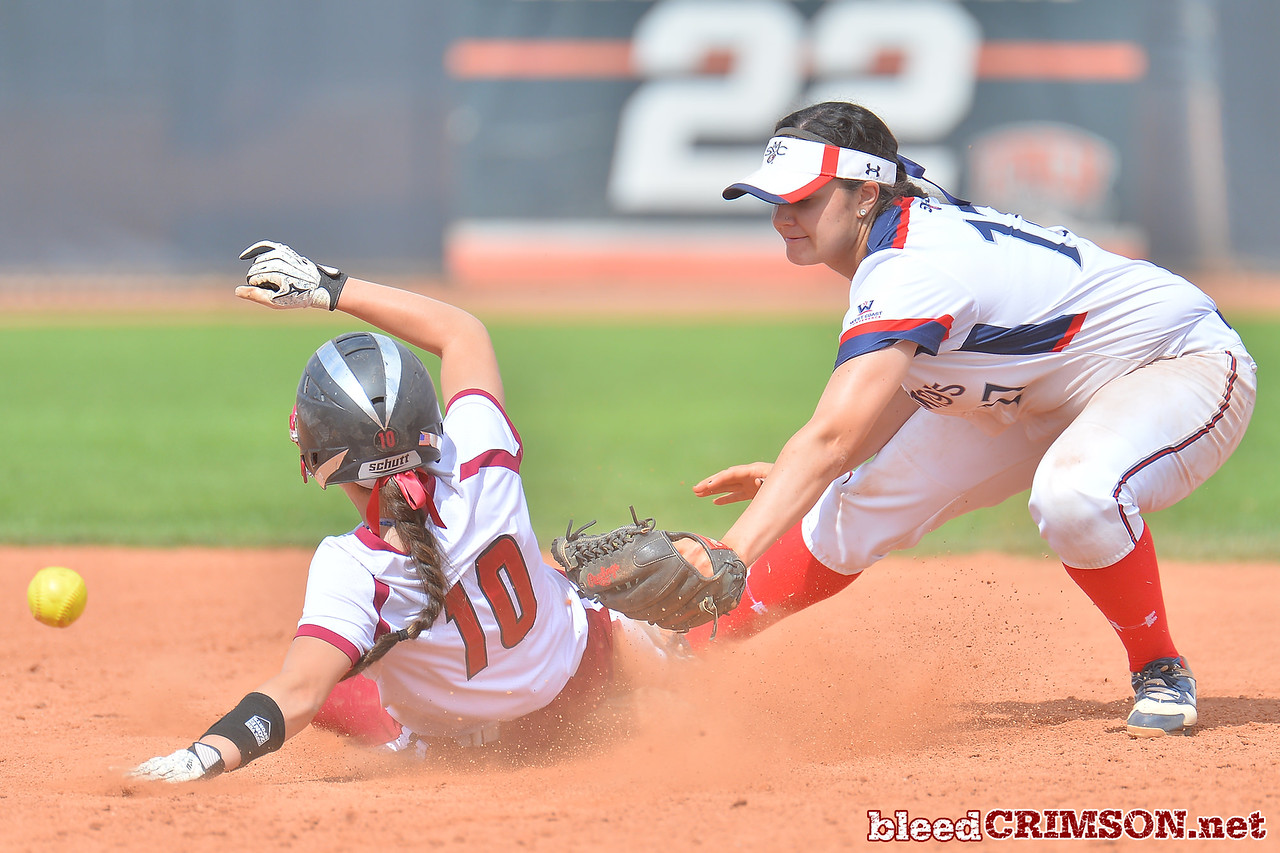 March 5, 2016: NM State pinch runner Amy Bergeson slide safely into second base in a game between New Mexico State and Saint Mary's College at the 2016 Alexis Park Resort Classic at Eller Media Stadium in Las Vegas, Nevada. The Aggies defeated the Gaels via run rule 12-4.