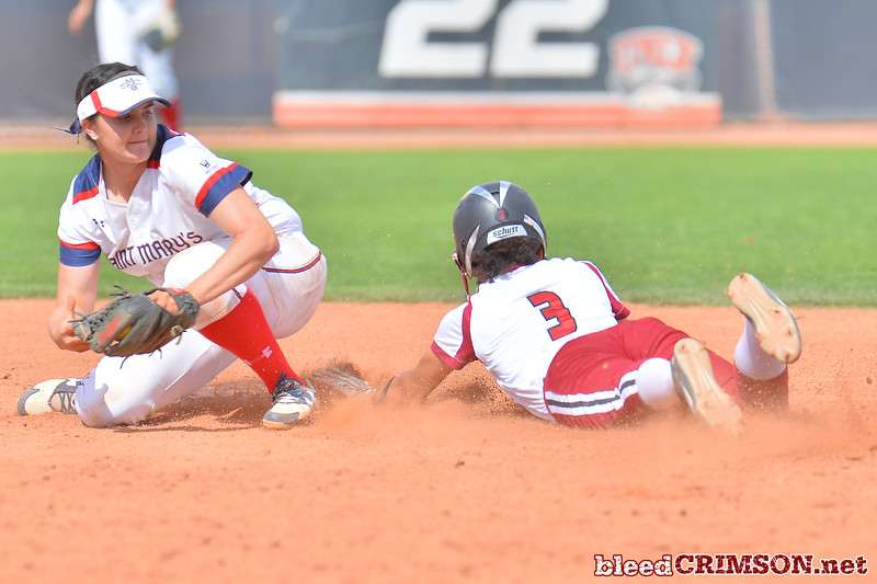 March 5, 2016: NM State center fielder Victoria Castro slides safely into second base in a game between New Mexico State and Saint Mary's College at the 2016 Alexis Park Resort Classic at Eller Media Stadium in Las Vegas, Nevada. The Aggies defeated the Gaels via run rule 12-4.