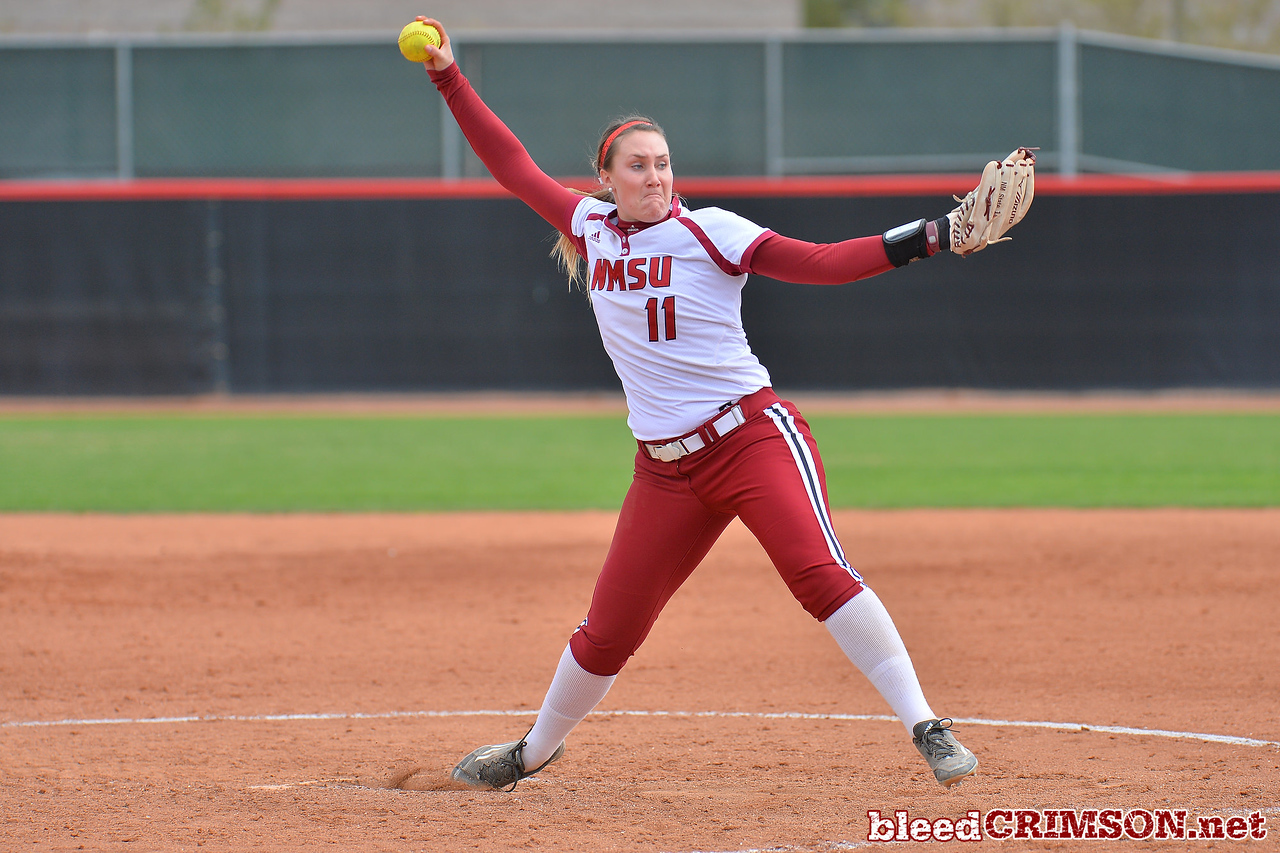 March 5, 2016: NM State pitcher Makayla McAdams delivers a pitch in a game between New Mexico State and Saint Mary's College at the 2016 Alexis Park Resort Classic at Eller Media Stadium in Las Vegas, Nevada. The Aggies defeated the Gaels via run rule 12-4.