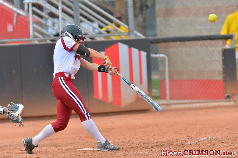 March 5, 2016: NM State third baseman Emma Adams gets a hit in a game between New Mexico State and Saint Mary's College at the 2016 Alexis Park Resort Classic at Eller Media Stadium in Las Vegas, Nevada. The Aggies defeated the Gaels via run rule 12-4.