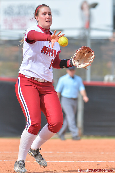 March 5, 2016: NM State pitcher Makayla McAdams tosses a ball to first base for an out in a game between New Mexico State and Saint Mary's College at the 2016 Alexis Park Resort Classic at Eller Media Stadium in Las Vegas, Nevada. The Aggies defeated the Gaels via run rule 12-4.