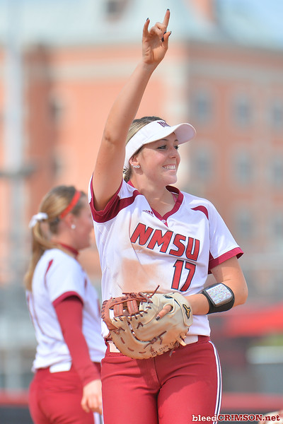 March 5, 2016: NM State first baseman Kelsey Horton signals two outs in a game between New Mexico State and Saint Mary's College at the 2016 Alexis Park Resort Classic at Eller Media Stadium in Las Vegas, Nevada. The Aggies defeated the Gaels via run rule 12-4.