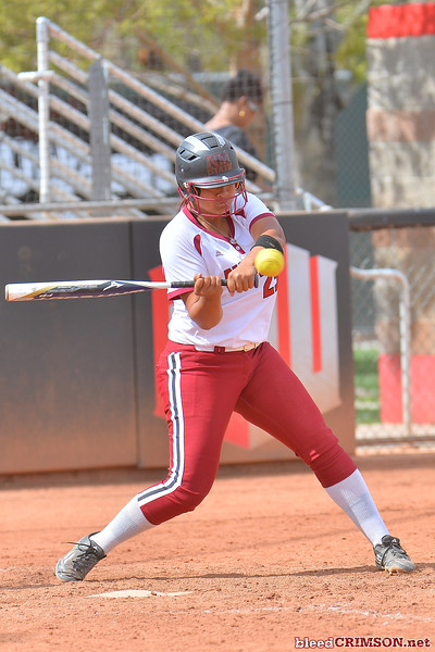 March 5, 2016: NM State pinch hitter Fiana Finau takes a swing in a game between New Mexico State and Saint Mary's College at the 2016 Alexis Park Resort Classic at Eller Media Stadium in Las Vegas, Nevada. The Aggies defeated the Gaels via run rule 12-4.