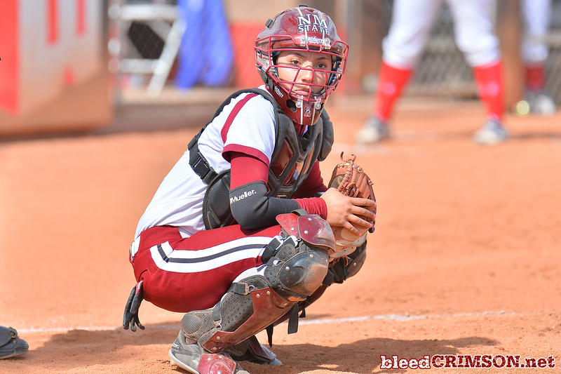 March 5, 2016: NM State catcher Alexis Maynez in a game between New Mexico State and Saint Mary's College at the 2016 Alexis Park Resort Classic at Eller Media Stadium in Las Vegas, Nevada. The Aggies defeated the Gaels via run rule 12-4.