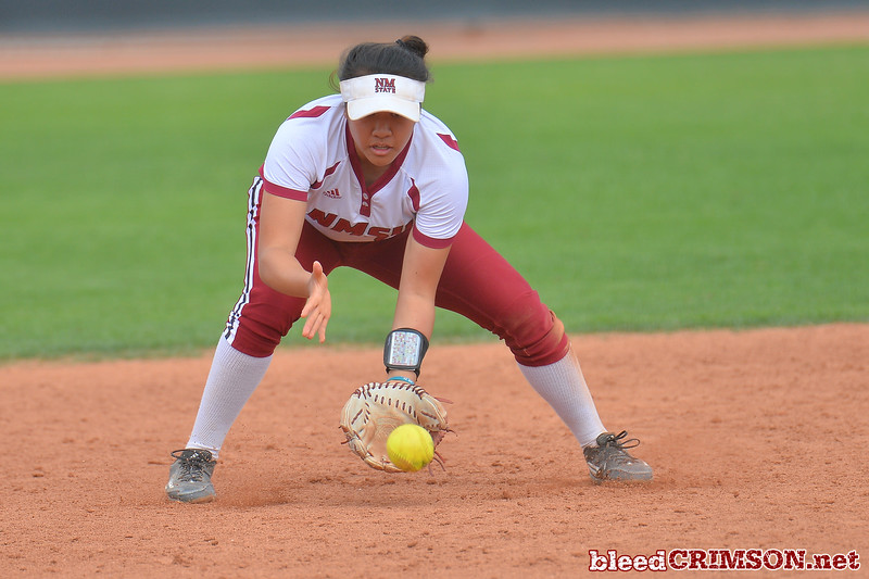 March 5, 2016: NM State shortstop Haley Nakamura fields a ground ball in a game between New Mexico State and Saint Mary's College at the 2016 Alexis Park Resort Classic at Eller Media Stadium in Las Vegas, Nevada. The Aggies defeated the Gaels via run rule 12-4.
