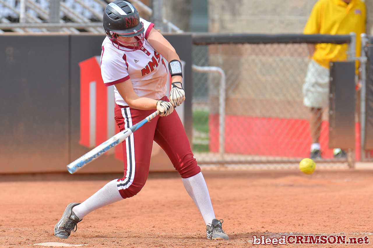 March 5, 2016: NM State first baseman Kelsey Horton takes a swing in a game between New Mexico State and Saint Mary's College at the 2016 Alexis Park Resort Classic at Eller Media Stadium in Las Vegas, Nevada. The Aggies defeated the Gaels via run rule 12-4.