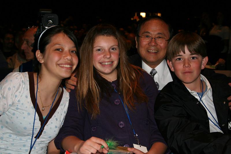 Benyapa, Kate, and Matt with UCSB Chancellor Henry Yang