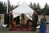 The entrance to the vigil tent.  This was the reception tent.  there was a further tent beyond it that had Edward in it.  <br /> Kenneth, Lachlann and Clarice of Lochleven are standing guard. Duchess Roxane is in the tent.