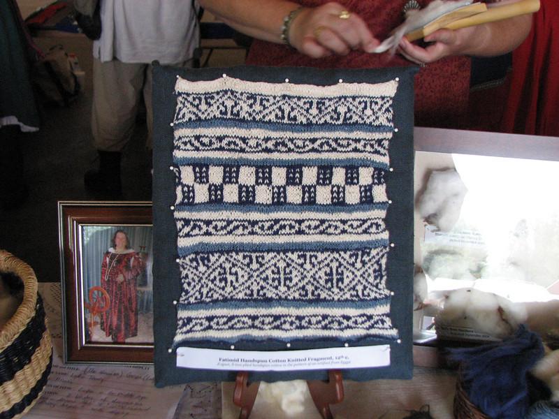 Pennsic A&S.  Knitting by Lady Lidia de Ragusa.  Atlantia.