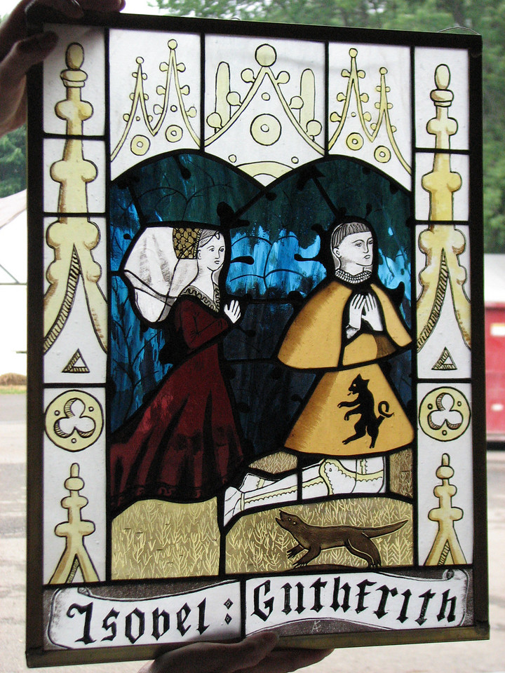 Pennsic A&S. Stained glass by Lady Anneke of Flekkeroy.  Barony of Ruantallan.