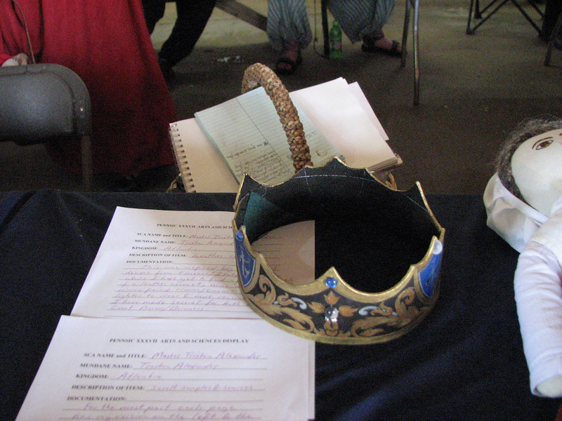 Pennsic A&S.  Leather coronet by Master Tristan Alexander.