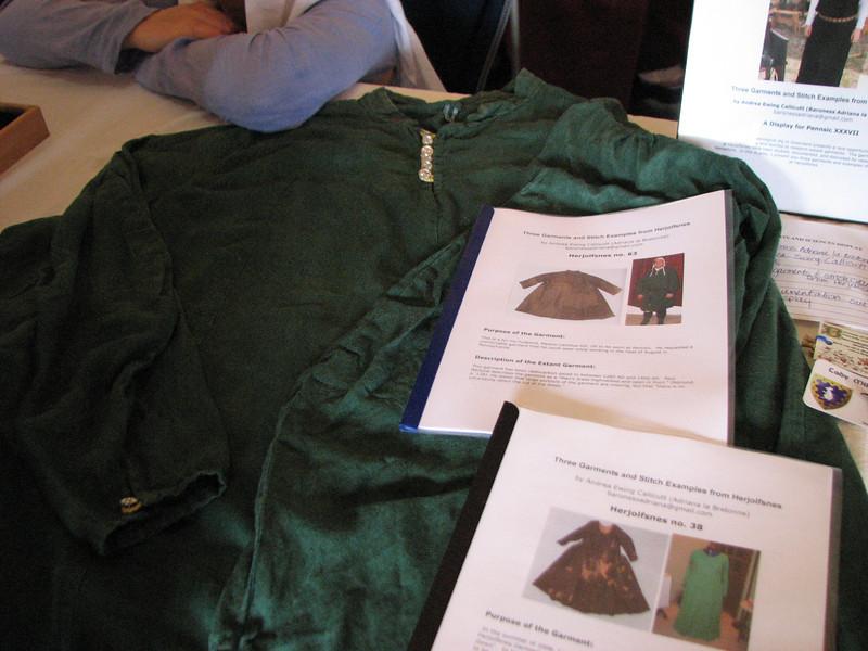 Pennsic A&S.  G-63 tunic with documentation by Baroness Adriana la Bretonne.  Atlantia.