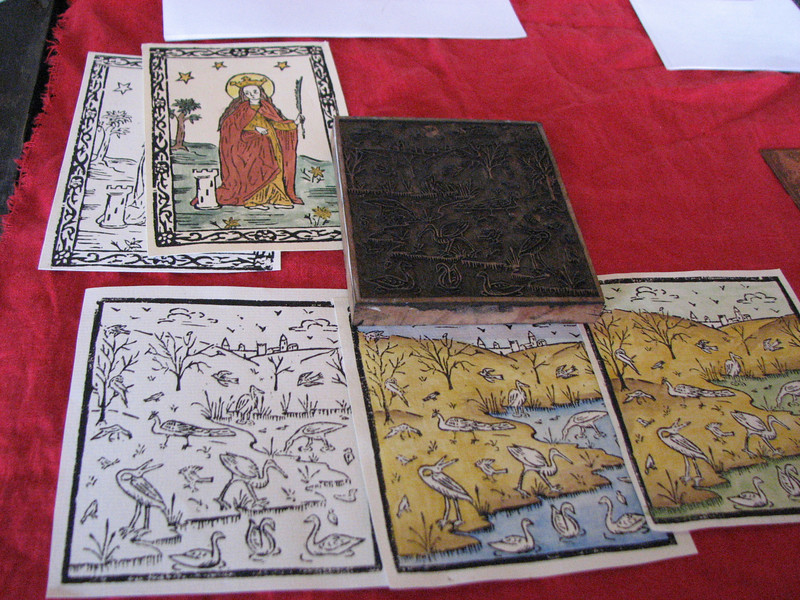 Pennsic A&S.  Woodcuts.  Again, I did not get the name of the artist.  Please drop a comment if you know it.