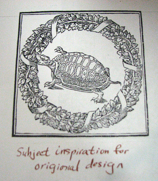 Baroness Janina's source of inspiration for turtle embroidery design