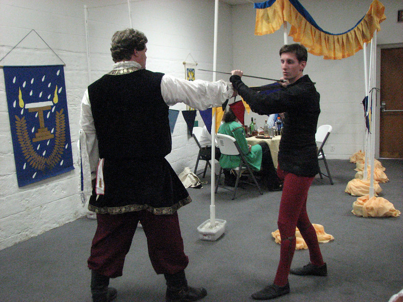Edward de Clare and Flaithri.  Demo on Western Martial arts as part of the Challenge issued by Roslind Delamere