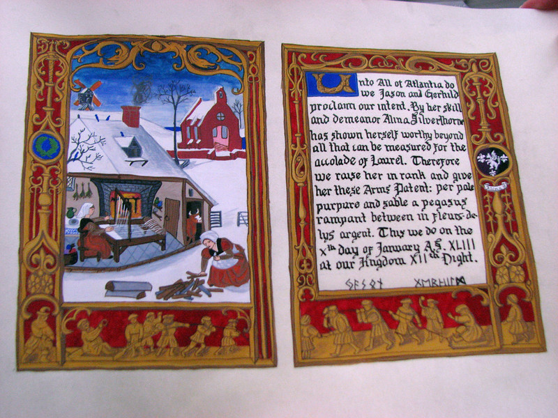Alina's scroll by Baroness Rhonwen verch Tudor, with calligraphy by Elizabeth of Hadley Hall.