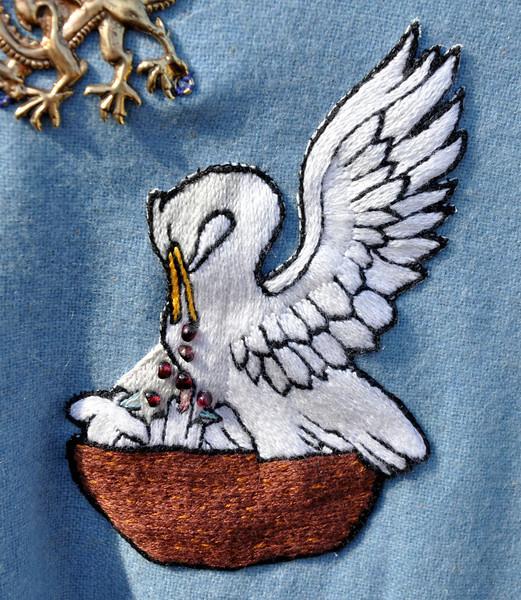 Detail of Mistress Rhonwen's Pelican Cloak.  Embroidery by Baroness Greta.
