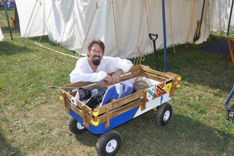 Our spiffy new wagon, with its creator.