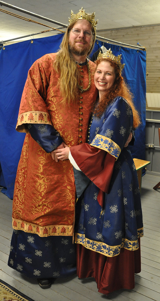 Russian Garb for Their Majesties of Atlantia Vlad and Kalissa, by Lady Cristina Iarina Chaikinaia. Modeled by TRM Vlad and Kalissa.
