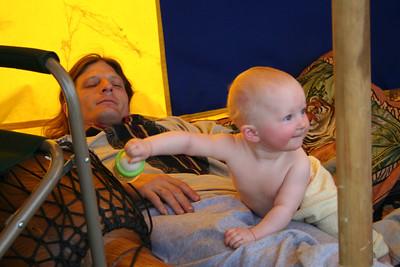 Jordyn interrupts Daddy's nap