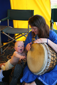Mommy and Jordyn banging the drum