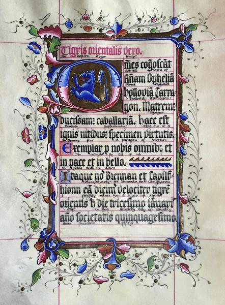 Tyger of the East Scroll for Anna Ophelia Holloway Tarragon