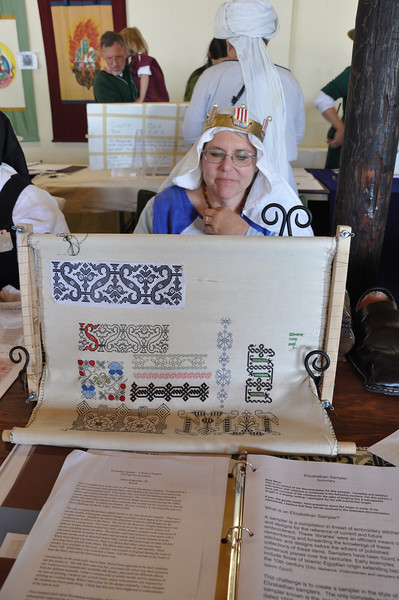 Baroness' Janina and her embroidery display
