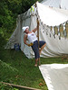 Pennsic 36, Setup, Ani braces a pole