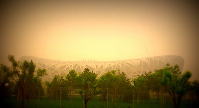 """Olympic Stadium """"Bird's Nest"""" - it is off-limits to visitors right now, so this was as close as we could get"""
