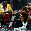 USC's Gabe Pruitt and a teammate sit dejected on the bench after losing to the University of North Carolina Tar Heels during the NCAA Men's East Regional Semifinal at Continental Airlines Arena on March 23, 2007 in East Rutherford, New Jersey.