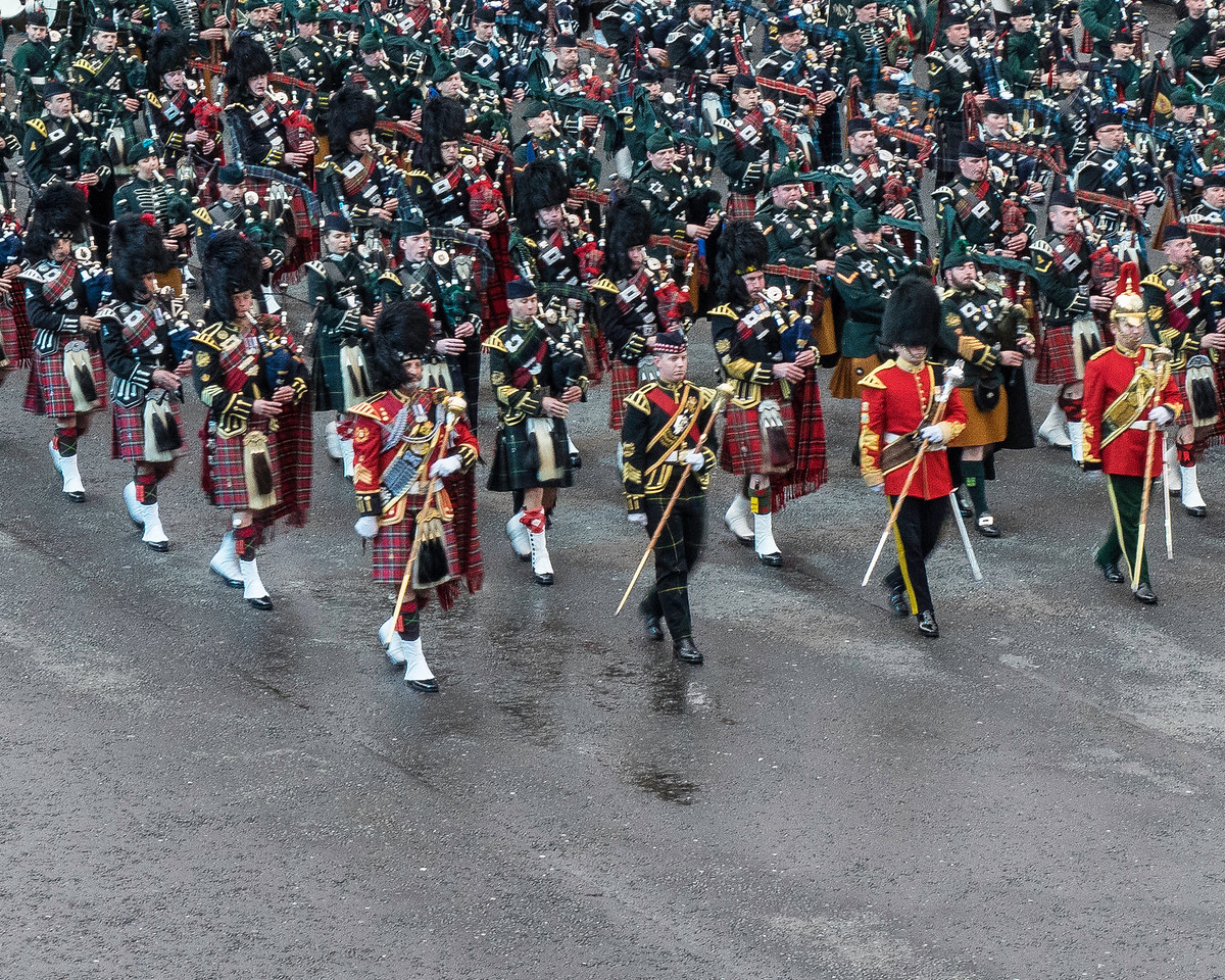 Edinburgh Tattoo Entry of the Massed Pipes and Drums. Balaklava Company in Dark Jackets