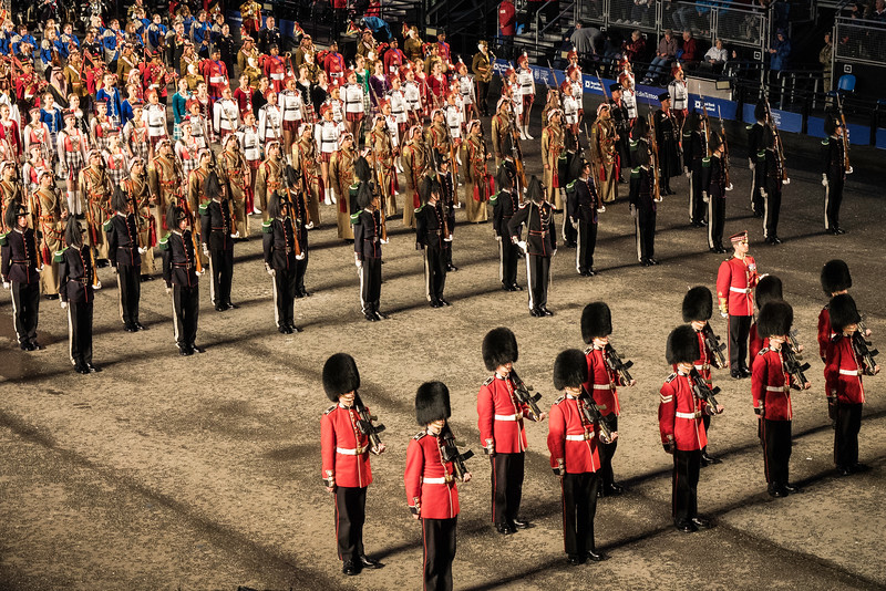 Edinburgh Tattoo. Guard of Honour 1st. Baffalion Scots Guards