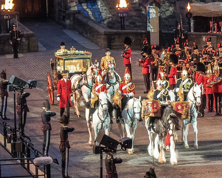 Edinburgh Tattoo  Scottish State Coach with Household Cavalry and Drum Horse