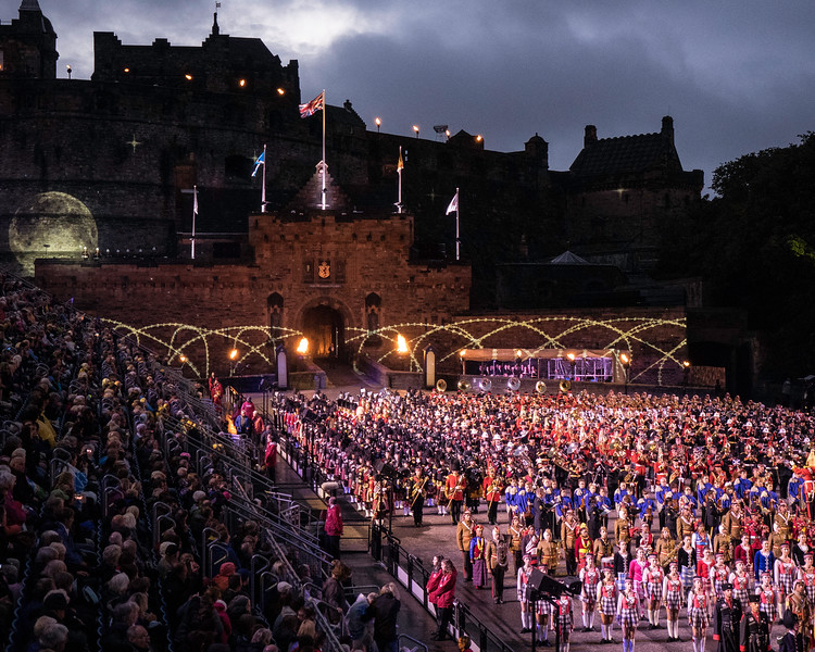 "Edinburgh Tattoo. The Setting Sun. Lights Out ""Sleep Soldiers Sleep"""