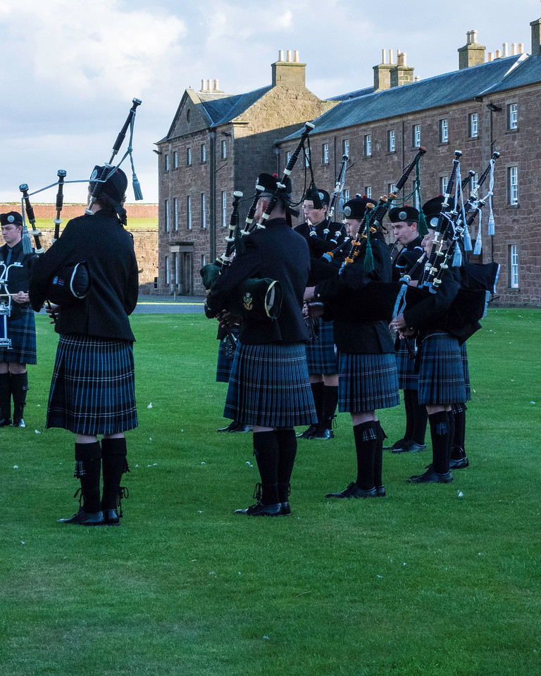 Inverness Junior Pipe and Drum corps practicing before they performed retreat, calling in all of the sentries.