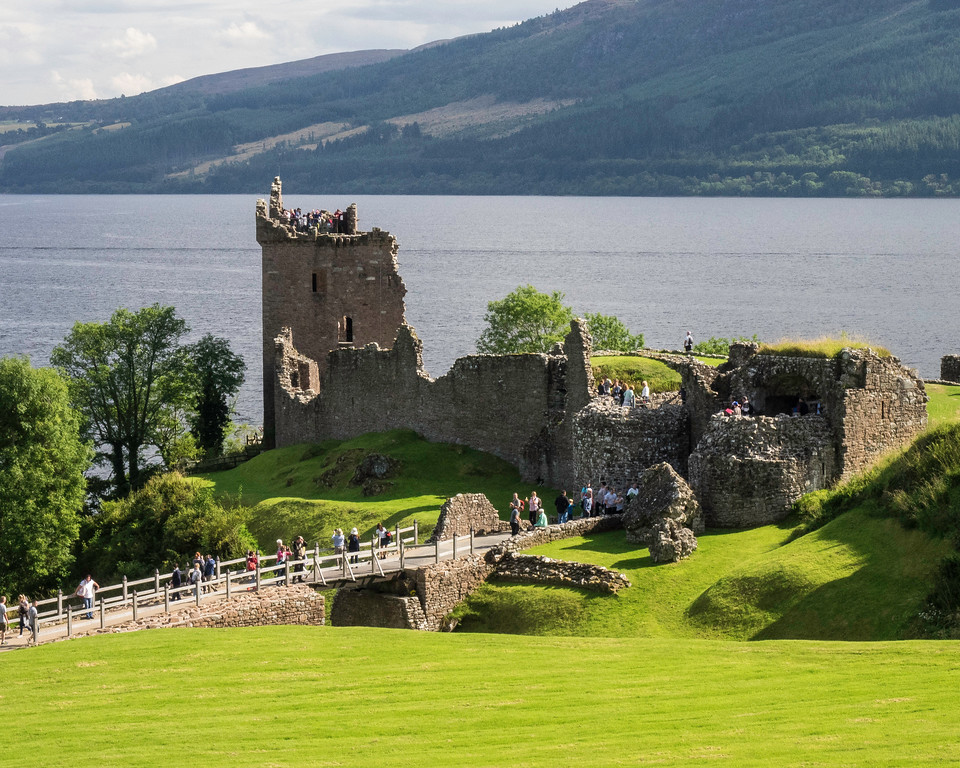 Urquhart Castle (13th. Century) on Loch Ness destroyed in 1692 to prevent use by the enemy Jacobites