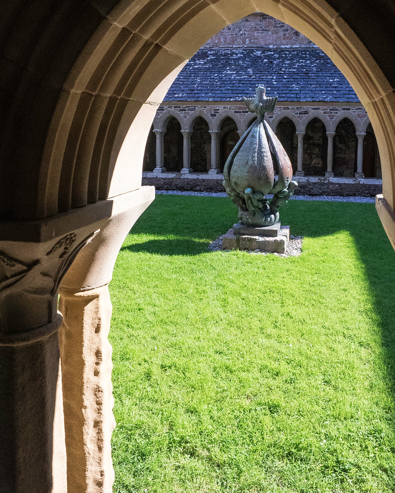 """Iona Abbey Cloister """"Descent of the Spirit""""  Jacques Lipchitz - 1959"""