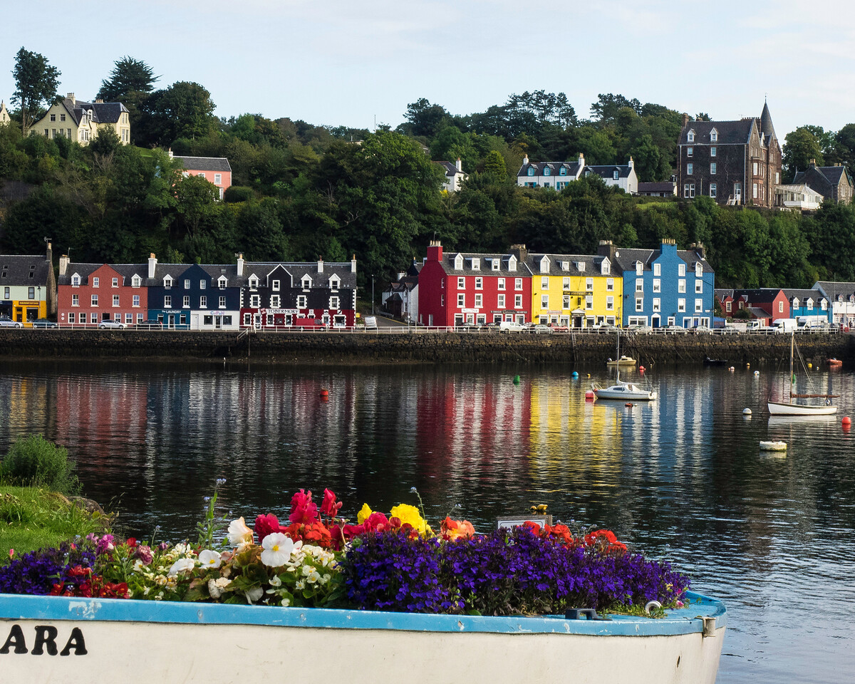 View of the port of Tobermory on the Isle of Mull