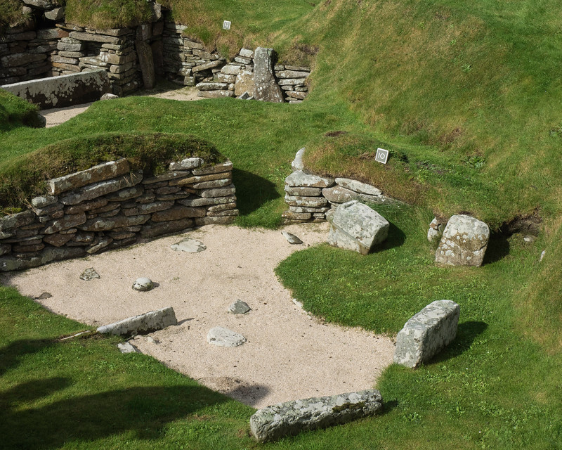 Skara Brae - Stone Village 3200 BC. Abandoned and covered by  sand dunes about 2000 BC