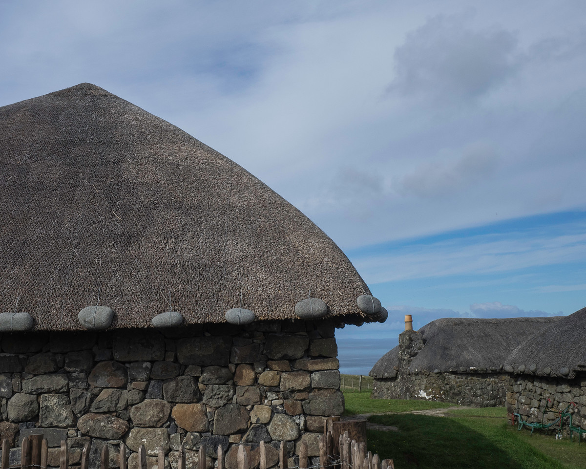 Isle of Skye - Museum of the Black Cottages Black from the smoke of the peat fires. Stones held the thatch down in gales.
