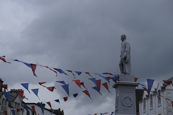 Bunting adorns Sir Walter Scott in Selkirk