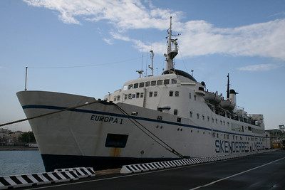 F/B EUROPA I laid up in Brindisi in 2008. The next and last trip will be in 2010 to Aliaga for scrapping.