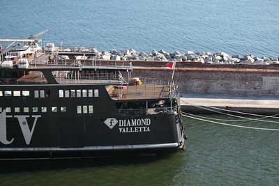 F DIAMOND laid up in Genova after the season working as a tv-set for Fashion TV.