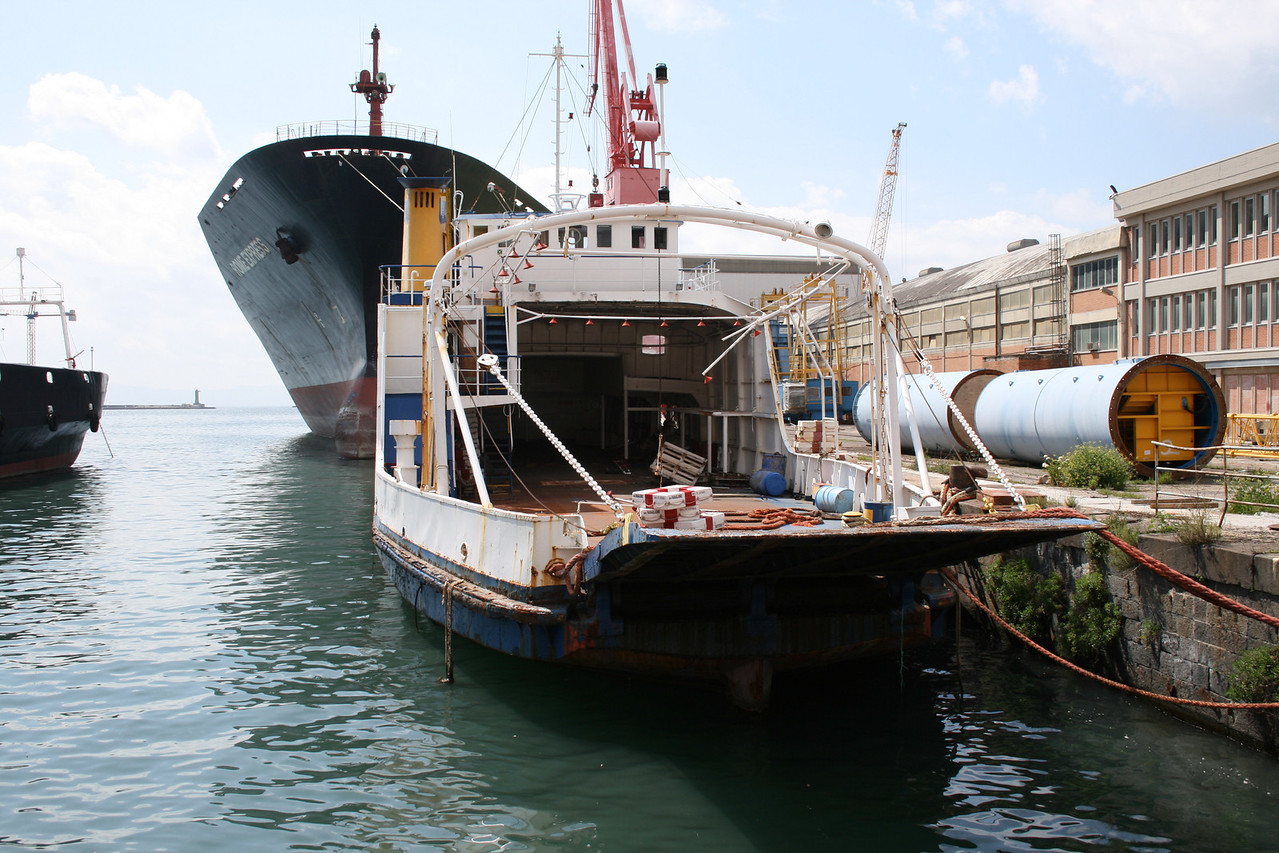 F/B FERRY CAPRI waiting scrap in Napoli. From 1966 to 1980 the only ferry able to carry trucks between Napoli and Capri island. Then until 1994 continued to carry garbage, oil and special transports.