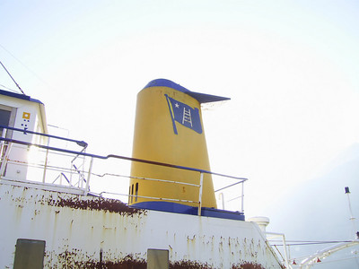 F/B FERRY CAPRI laid up in Castellammare di Stabia : the funnel. From 1966 to 1980 the only ferry able to carry trucks between Napoli and Capri island. Then until 1994 continued to carry garbage, oil and special transports.
