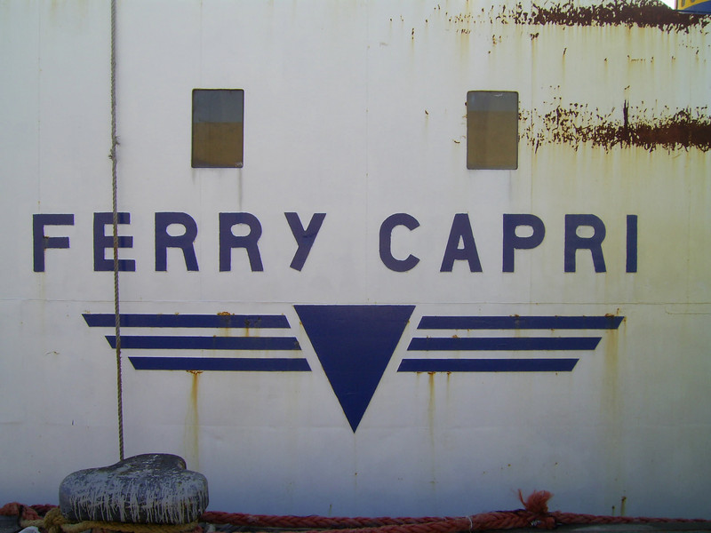 F/B FERRY CAPRI laid up in Castellammare di Stabia : name on side.